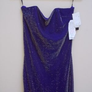 Purple Sparkle Strapless Long Formal Dress